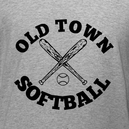 Old Town Softball class athletic t-shirt template. Edit to show your softball team's name online. Choose from t-shirts to baseball jerseys, and checkout all online with free 10-day shipping in the U.S.A.