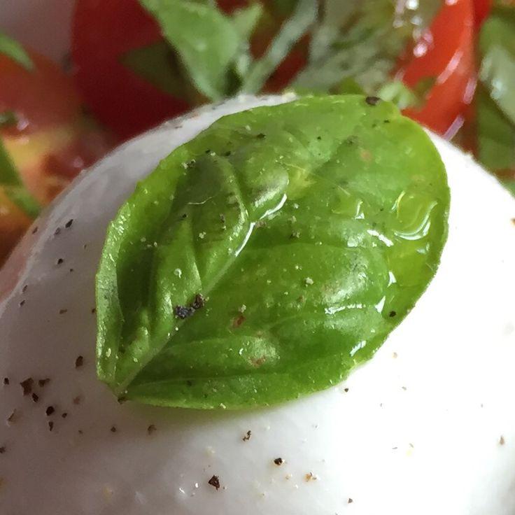 basil leaf on mozzarella cheese in my caprese salad