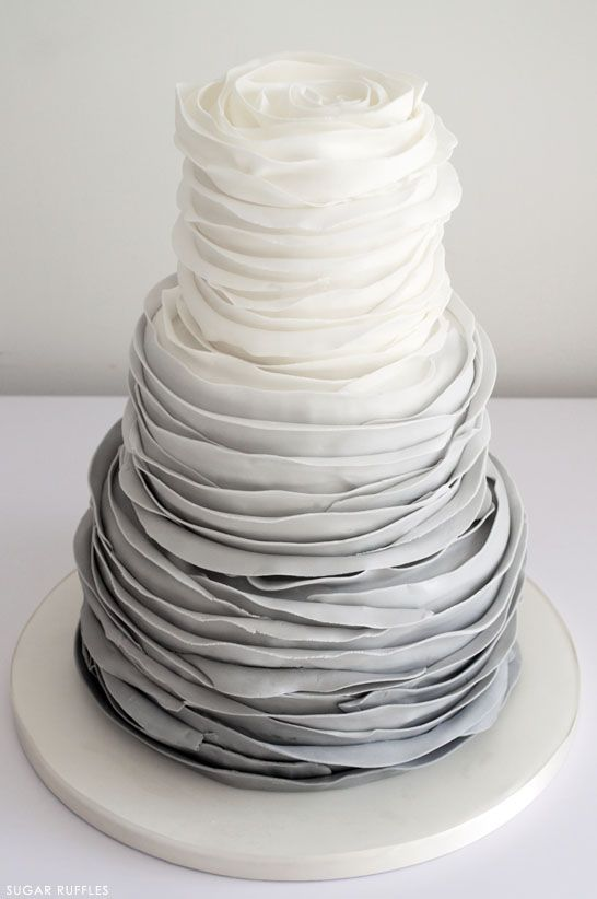 Grey Ombre Ruffled Wedding Cake | by Sugar Ruffles on TheCakeBlog.com