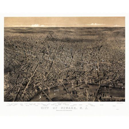 Antique Map of Newark New Jersey 1874 Essex County Canvas Art - (24 x 36)