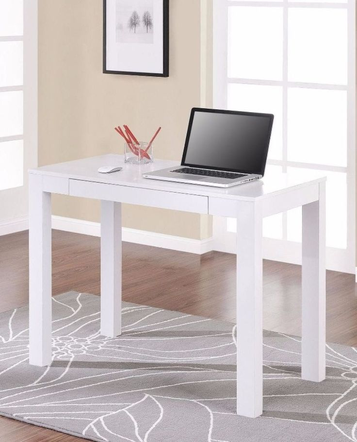 Rectangular Single-Drawer White Desk And Computer Tables Home Office Furniture #ComputerDesk