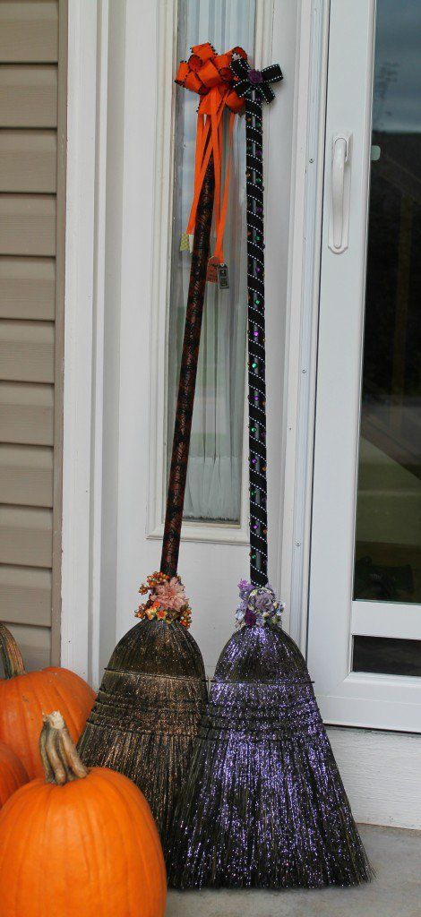Witches Brooms, some glitter spray on the straw broom, wrap the handle with some ribbon, add a bow.