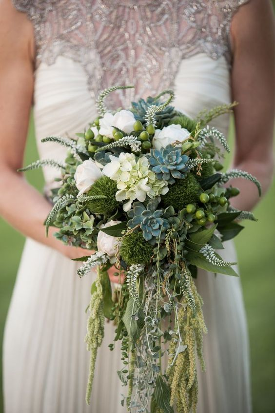 rustic bridal bouquet with moss / http://www.deerpearlflowers.com/moss-decor-ideas-for-a-nature-wedding/2/                                                                                                                                                                                 More