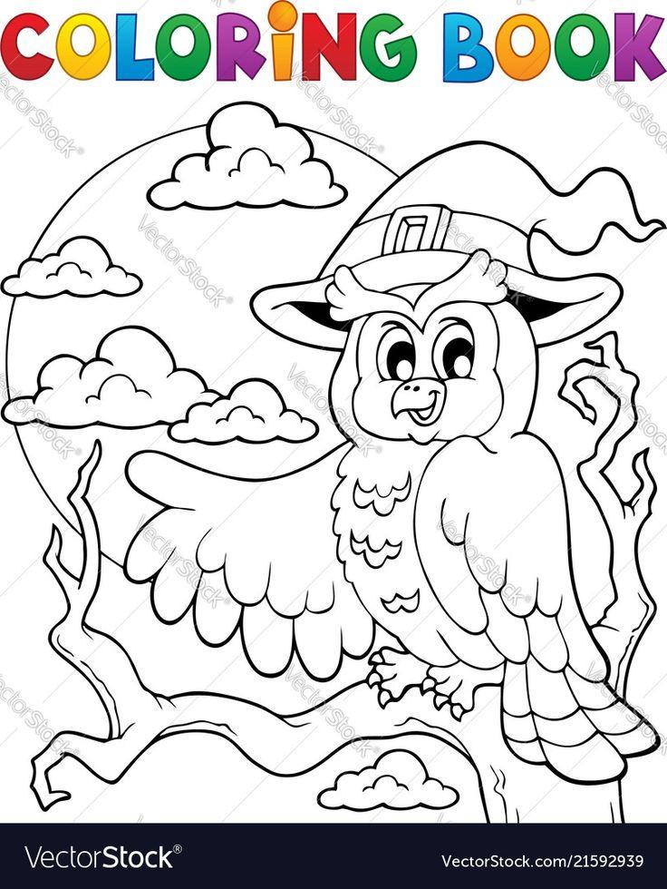 Coloring book halloween owl 1 vector image on VectorStock ...