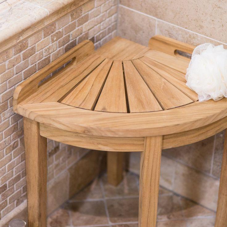 belham living teak corner shower stool shower seats at hayneedle