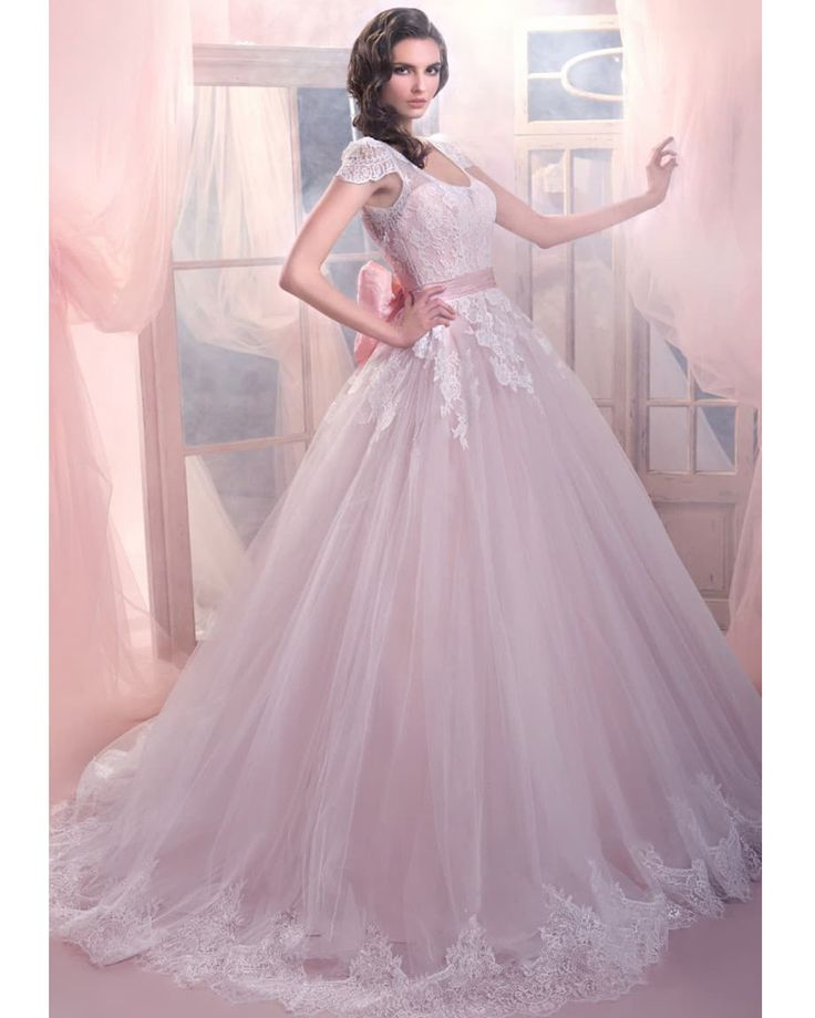 Cap Sleeve Tulle and Lace Pink Wedding Dresses Ball Gown Wedding Dress 2016 Country Western Wedding Gowns Robe de Mariee