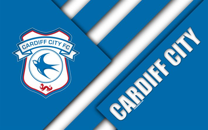 Download wallpapers Cardiff City FC, logo, 4k, blue white abstraction, material design, English football club, Cardiff, Wales, UK, football, EFL Championship