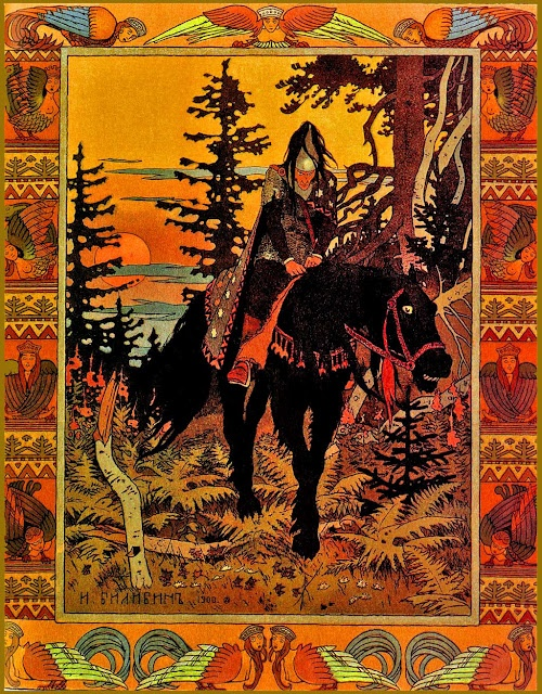 Ivan Bilibin black knight of the Baba Yaga