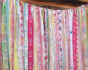 Mint Coral Aqua Custom Rag Curtains, assorted prints and solids mixed with lace and puffy pom poms Frayed and tattered vintage and new fabrics are blended together and hand tied to rope to create this unique One of a Kind Ribbon garland curtains. This fun curtain is 7 foot long, you choose the width you need for your window.  This could also be used for a photo backdrop for any event, a wedding, shower, birthday, anniversary, baby photos, prom, cake table, ceremony backdrop, NOTE: the Pom…