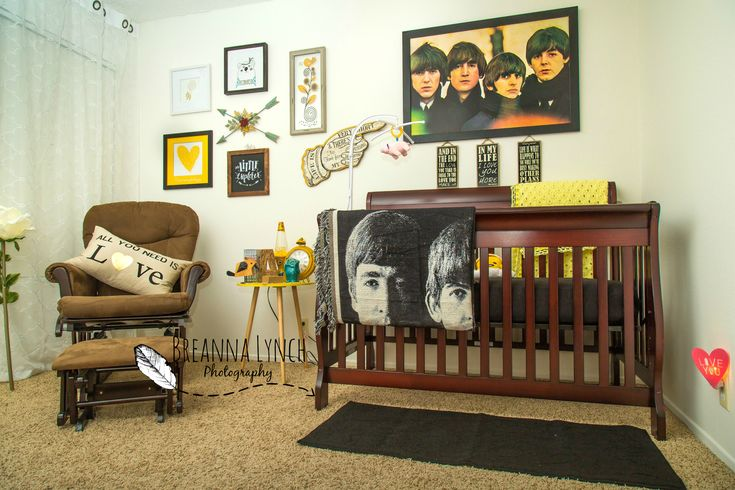 Beatles themed nursery.    Beatles; baby girl; gender neutral; newborn; baby; nursery; crib; rocker; bedding; decor