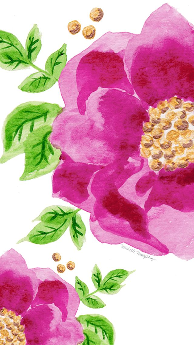 Gorgeous pink green illustrated watercolour floral flower iphone phone wallpaper background lock screen