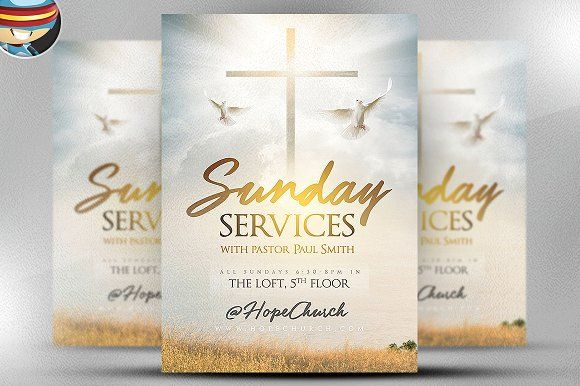 Sunday Services Flyer Template 2 by FlyerHeroes on @creativemarket