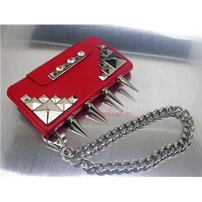 Red leatherette wallet case iPhone 5 5S metal silver studs spikes rhinestones wrist chain ***********Shop now and use the code :REPIN to get 15% off and get FREE shipping within the U.S...