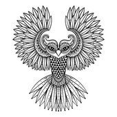 Vectores ornamental buho, mascota de la zentangled étnica, amuleto, máscara de Vectores De Stock Sin Royalties Gratis