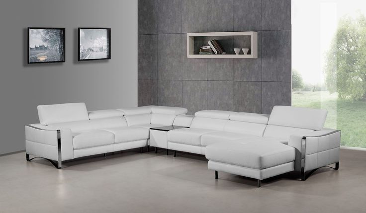 Divani Casa Arles Modern White Leather Sectional Sofa