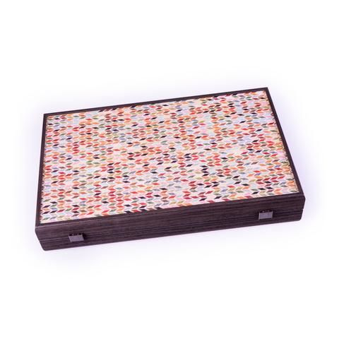 Handcrafted Creative Backgammon With Side Racks For Checkers - Abstract Geometric Shapes In Multicolor Fabric