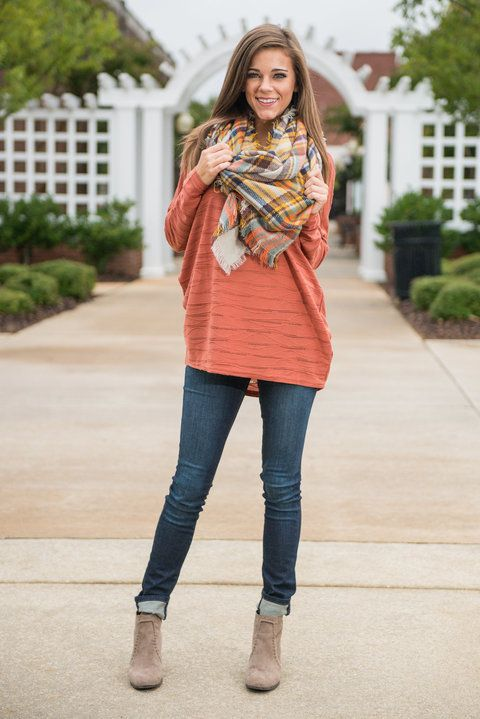 Pumpkin Patch Sweater, Rust - The Mint Julep Boutique