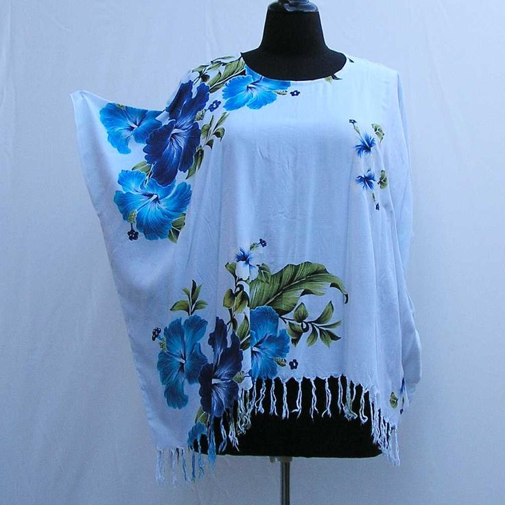 Blue and white tunic, Plus size Caftan, plus size tunic, blue kaftan, cover up, hibiscus tunic, boho tunic 1x 2x 3x 4x 5x 6x, upcycled tunic by Rethreading on Etsy