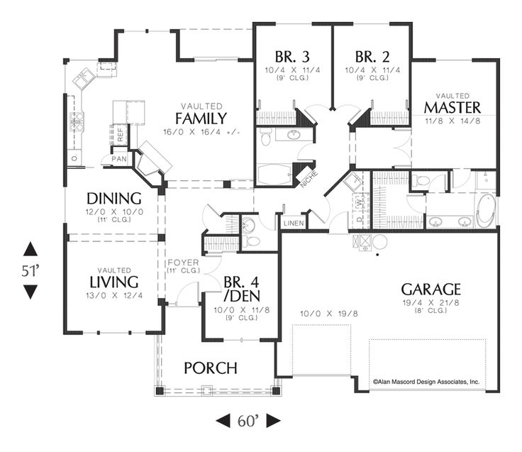 One Level House Plans With Open Floor Plan Plan B1133c