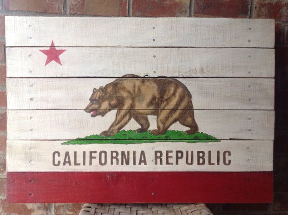 California Republic State Flag - Hand Painted on Reclaimed Pallet Wood  - Wall Hanging