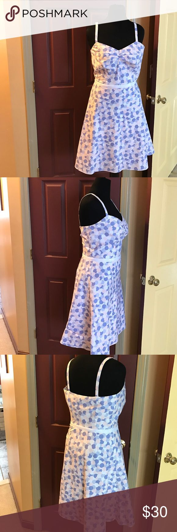 Ann Taylor Loft Factory Store size 10 dress Beautiful pink, purple & white polka dot dress worn only once.  Two spots, shown in pictures, not very noticeable unless you're really looking. Ann Taylor  Dresses Midi