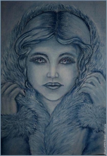 """Картина """"Снегурочка"""" - картина,снегурочка,синий,пастель,Живопись,графика"""