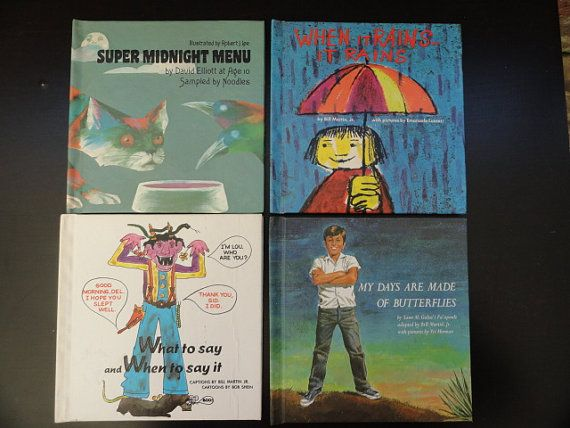 Bill Martin  Instant Reader Book Lot, Set of 4, 1970, Super Midnight Menu, When it rains.., My Days are Made of Butterflies, What to say