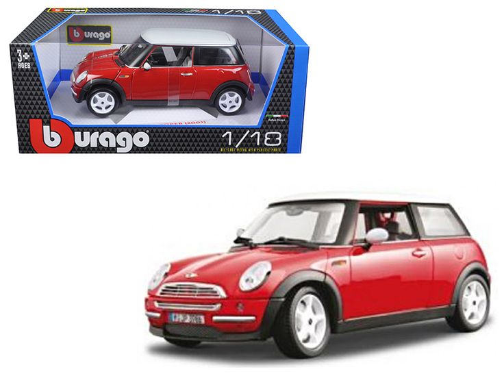 2001 Mini Cooper Red 1/18 Diecast Model Car by Bburago - Brand new 1:18 scale diecast 2001 Mini Cooper Red die cast model car by Bburago. Brand new box. Rubber tires. Has steerable wheels. Opening hood, trunk and doors. Made of diecast with some plastic parts. Detailed interior, exterior. Dimensions approximately L-7.5, W-3.5, H-3 inches. Please note that manufacturer may change packing box at any time. Product will stay exactly the same.-Weight: 4. Height: 8. Width: 15. Box Weight: 4. Box…
