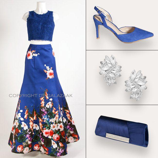 Flower Power met deze 2-delige jurk.  Pailletten top en hoog gesloten taille rok in een A-lijn. https://www.degalazaak.nl/galajurk-2575.html