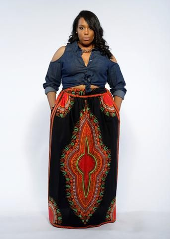 Dashiki African Print Maxi Skirt (Black/Redish Orange)