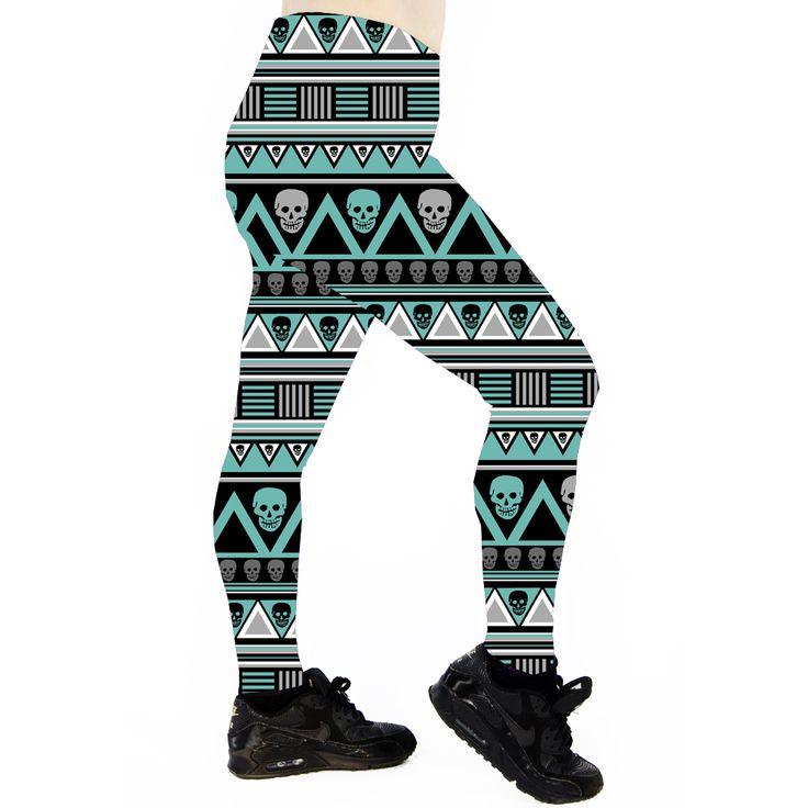 TEAL AZTEC SKULL Teal Aztec Skull Leggings are made from 100% polyester heavy… Running Leggings. Cycle Leggings Cycling Leggings. Roller Derby Leggings. Exercise Leggings. Workout Leggings. Dance Leggings. Gym Leggings. Fitness Leggings. Yoga Leggings. Pole Dance Leggings. Pole Leggings. Pilates Leggings. Skull leggings. Aztec Leggings.