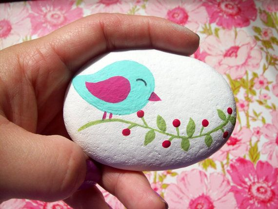 Hand Painted Bird in Tree Stone by CheeryGiftsAndDecor on Etsy, $12.00