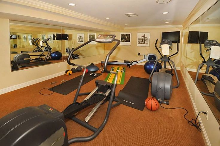 Contemporary Home Gym with Crown molding, Carpet