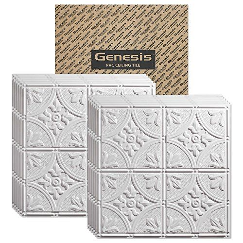 Genesis - Antique White 2x2 Ceiling Tiles 3 mm thick - These 2'x2' Drop Ceiling Tiles are Water Proof and Won't Break * Find out more about the great product at the image link.