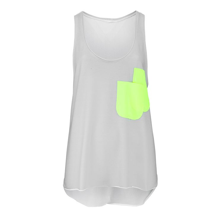 NOLY Tank Top Grey Neon - Women's fitness and yoga clothing. Great for active gym workouts or aerobic sessions. Romance sport and fashion