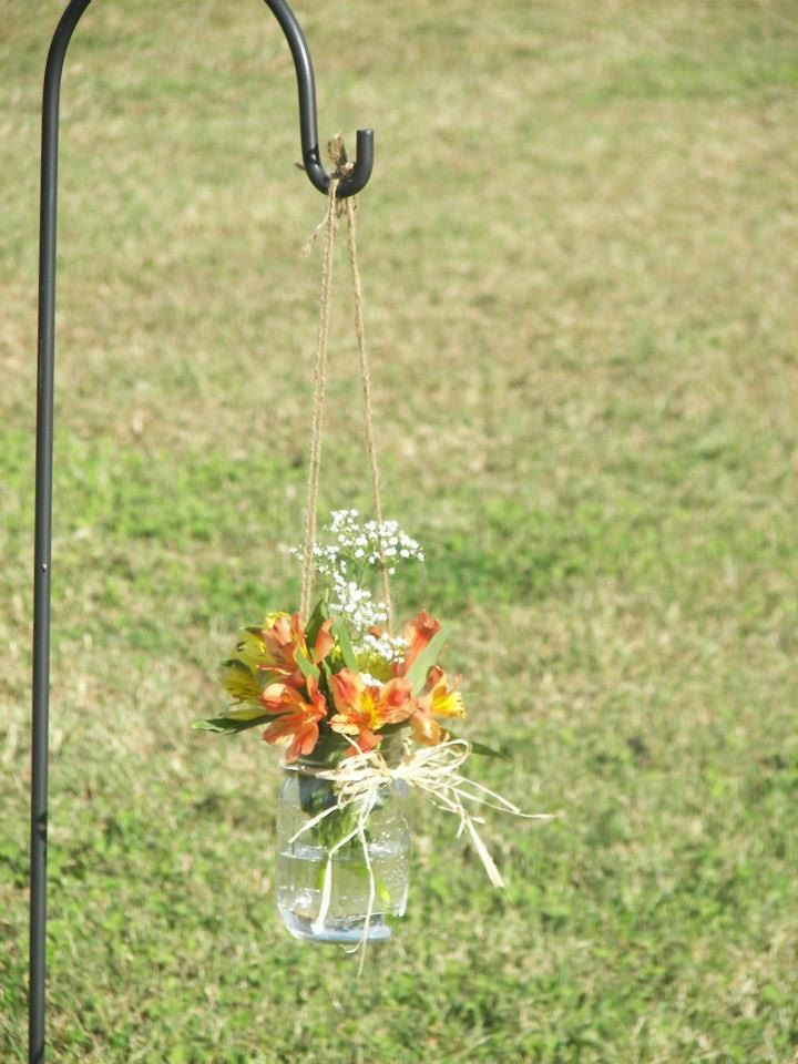 Hanging Mason Jar - Rustic Wedding Decor - Shabby Chic Wedding - Wedding Isle Marker. $4.00, via Etsy.