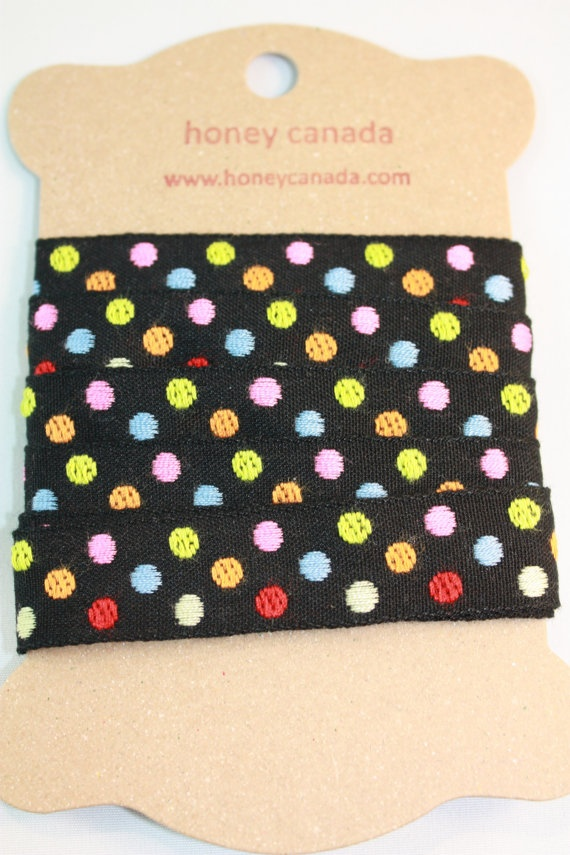 Cotton poly tape Black polka dot  Japanese by Naturalwoolsupplies, $4.50