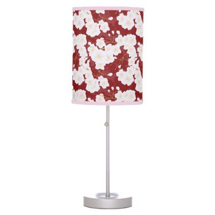 Sakura Flowers On Red Table Lamp - red gifts color style cyo diy personalize unique
