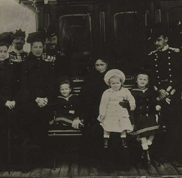 """Newly released photo of Empress Alexandra Feodorovna of Russia with the Grand Duchesses Tatiana,Maria and Olga Nikolaevna Romanova of Russia with others on board the Imperial Royal yacht,Polar Star in 1901. """"AL"""""""