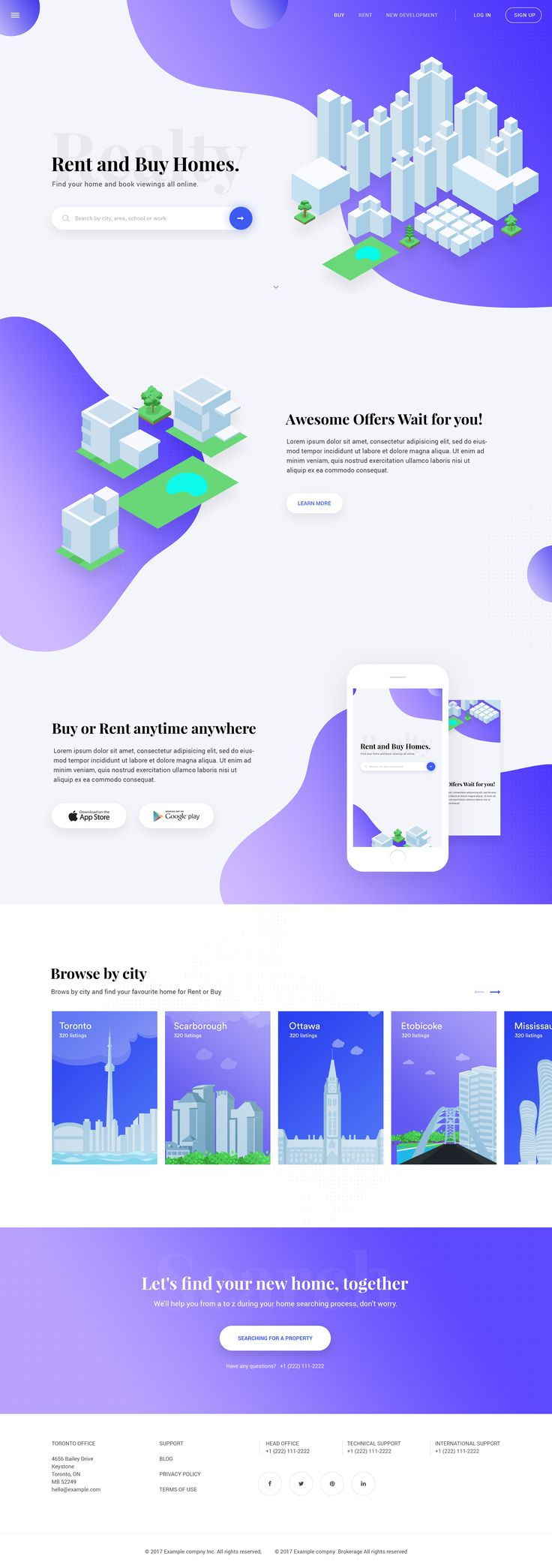 Home buy or rent landing page concept