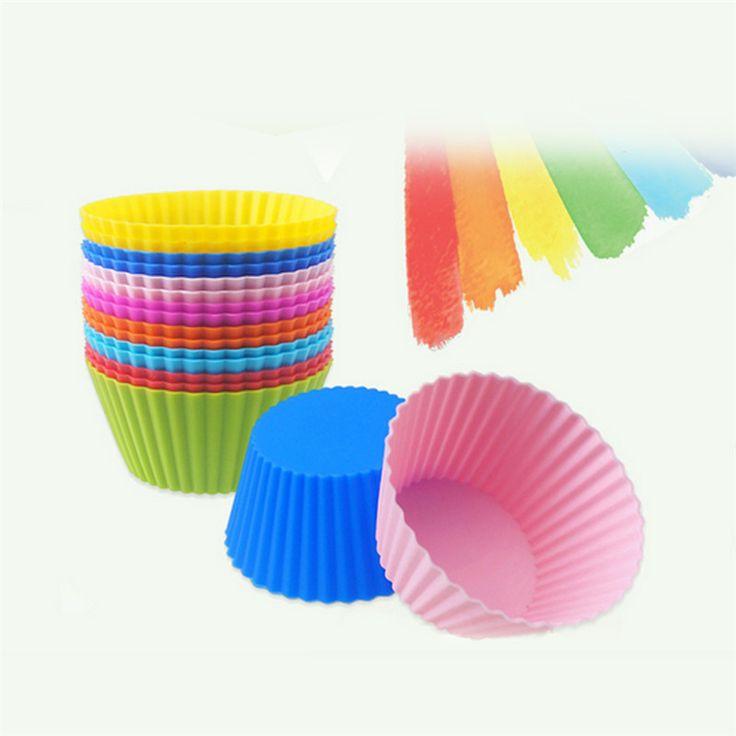 1 Pcs Cupcake Liners Cetakan 7 CM 8 Warna Putaran Piala Silicone Kue Alat Bakeware Baking Pastry Tools Dapur Gadget
