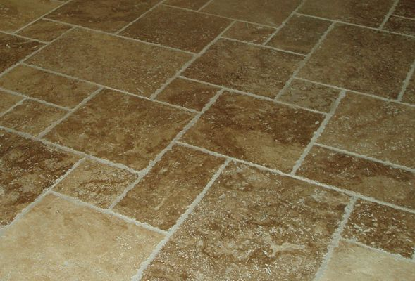 Tuscany Walnut Travertine Tile In A Versailles Pattern