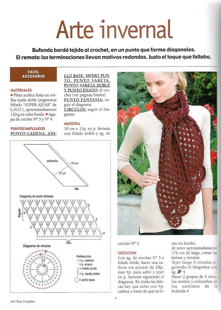Mejores 11 imágenes de bufandas en Pinterest | Patrones de ganchillo ...