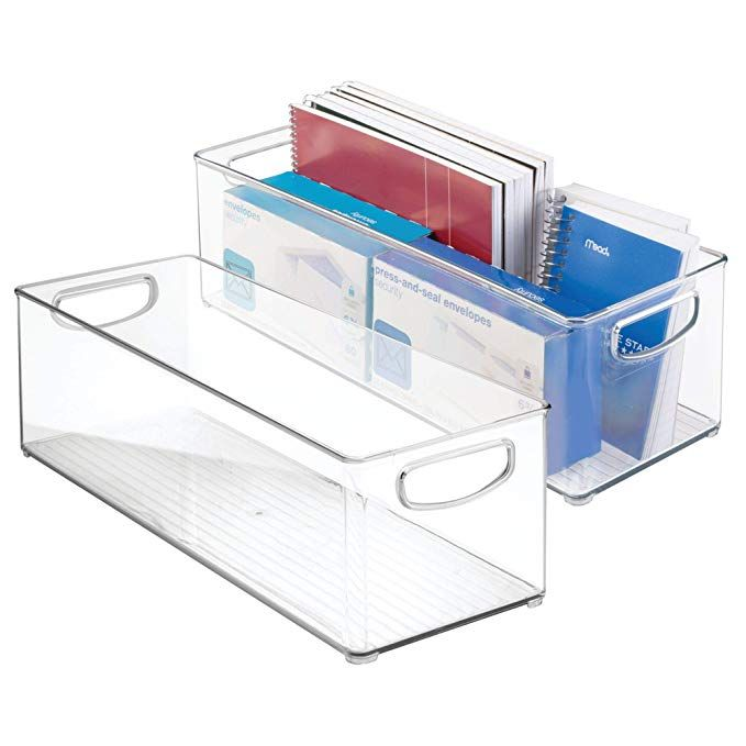Mdesign Office Supplies Desk Organizer Bin For Rulers Notepads Markers Pencils Pack Of Stackable Plastic Storage Bins Plastic Storage Bins Organizing Bins