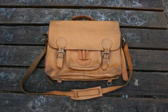 Vintage leather mens messenger bag vintage tan by TaylorGirlsShop