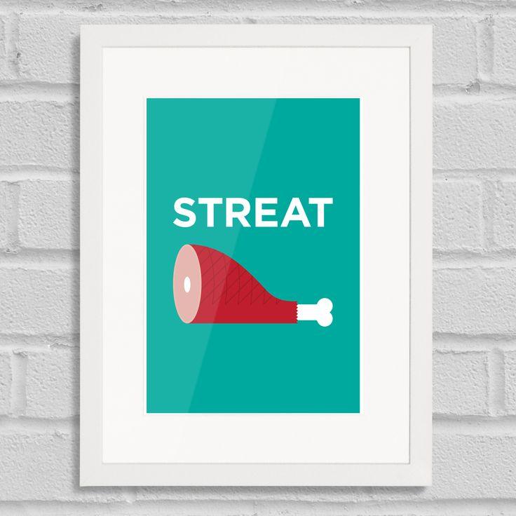 Pate Streatham Art Poster Print Place Pun White Frame