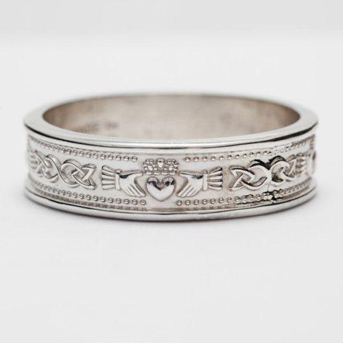 White Gold Handcrafted Irish Claddagh Celtic Wedding Band Ring