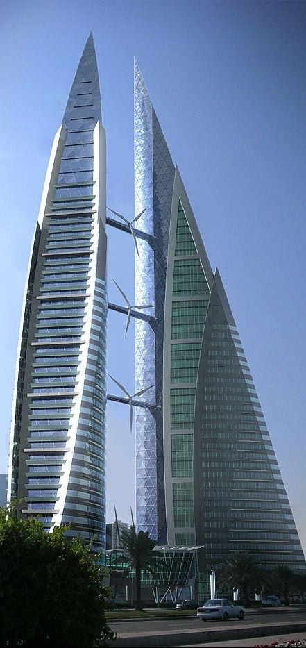 Bahrain World Trade Center, Manama, Bahrain by Atkins Architects :: 45 floors, height 240m