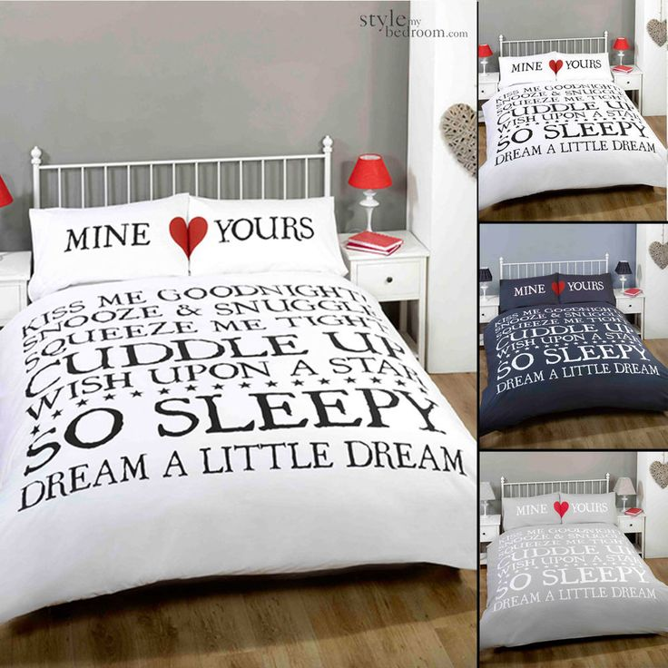 mine yours retro chic scroll text duvet quilt cover bedding set u0026 pillowcases