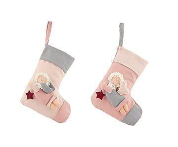 набор из 2 носков для подарков - лен - розовый - Д24